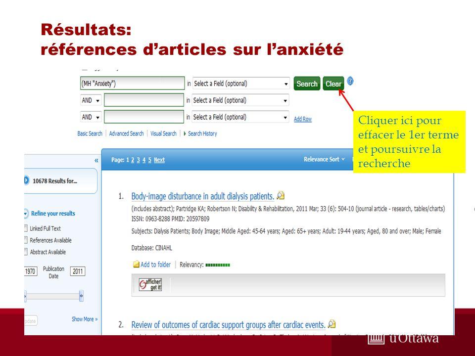 Résultats: références darticles sur lanxiété Cliquer ici pour effacer le 1er terme et poursuivre la recherche