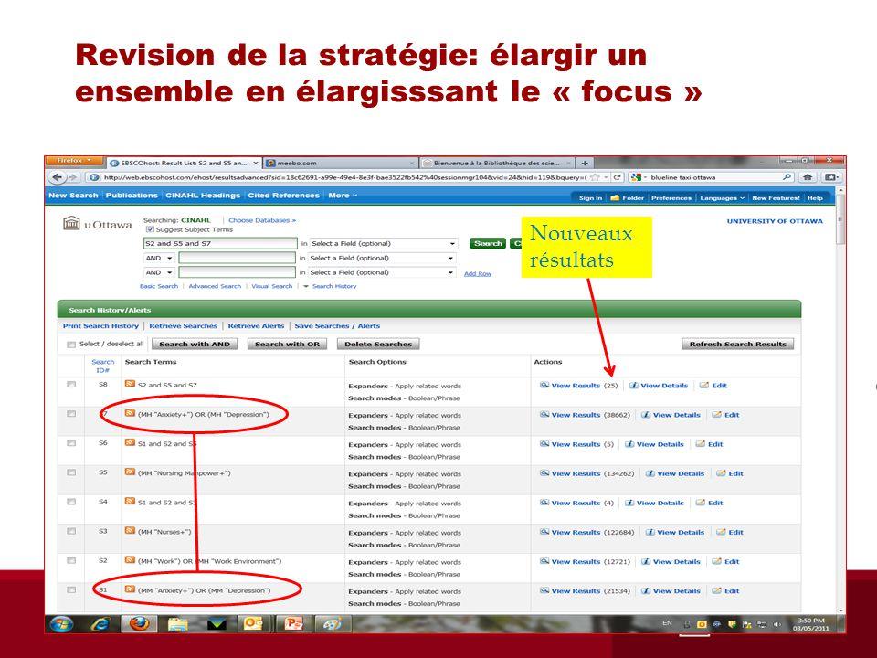 Revision de la stratégie: élargir un ensemble en élargisssant le « focus » Nouveaux résultats
