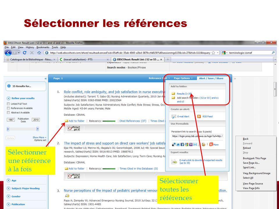 Sélectionner les références Sélectionner toutes les références Sélectionner une référence à la fois