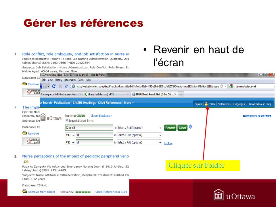 Gérer les références Revenir en haut de lécran Cliquer sur Folder