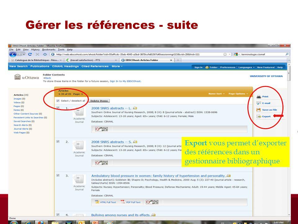 Gérer les références - suite Export vous permet dexporter des références dans un gestionnaire bibliographique