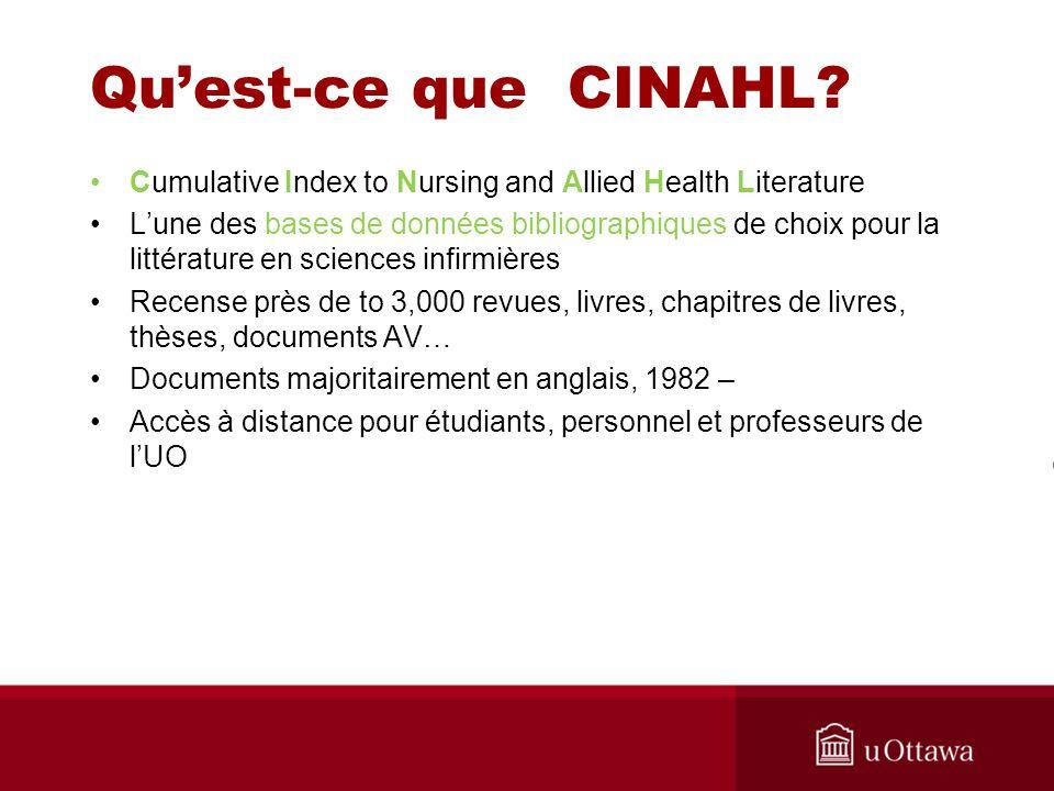 Quest-ce que CINAHL.