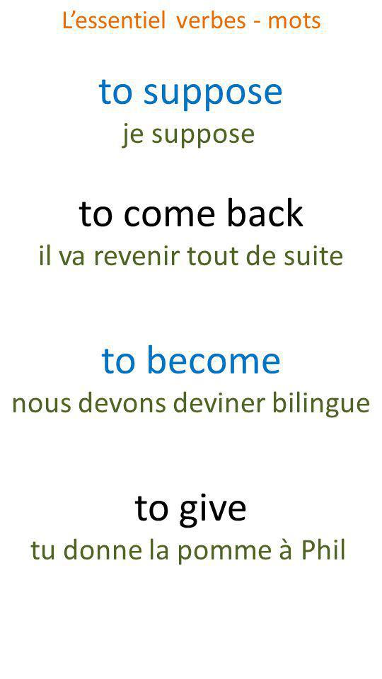 to suppose je suppose to come back il va revenir tout de suite to become nous devons deviner bilingue to give tu donne la pomme à Phil Lessentiel verb