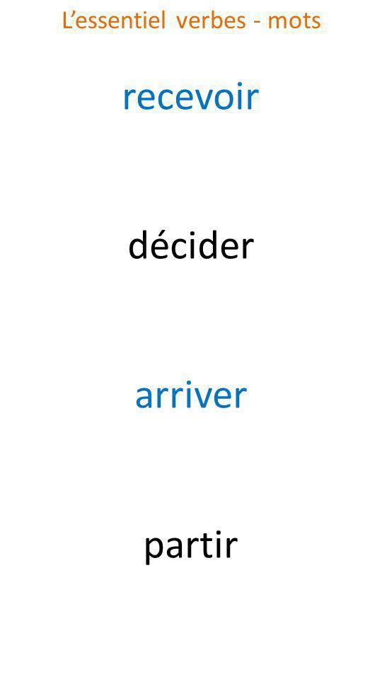 recevoir décider arriver partir Lessentiel verbes - mots