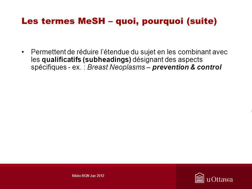 Les termes MeSH – quoi, pourquoi (suite) Permettent de réduire létendue du sujet en les combinant avec les qualificatifs (subheadings) désignant des aspects spécifiques - ex.