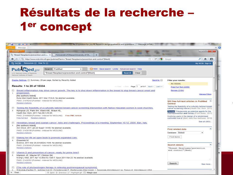 Résultats de la recherche – 1 er concept Biblio RGN Jan 2012