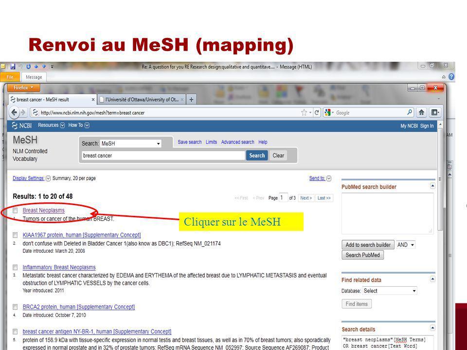 Renvoi au MeSH (mapping) Cliquer sur le MeSH Biblio RGN Jan 2012