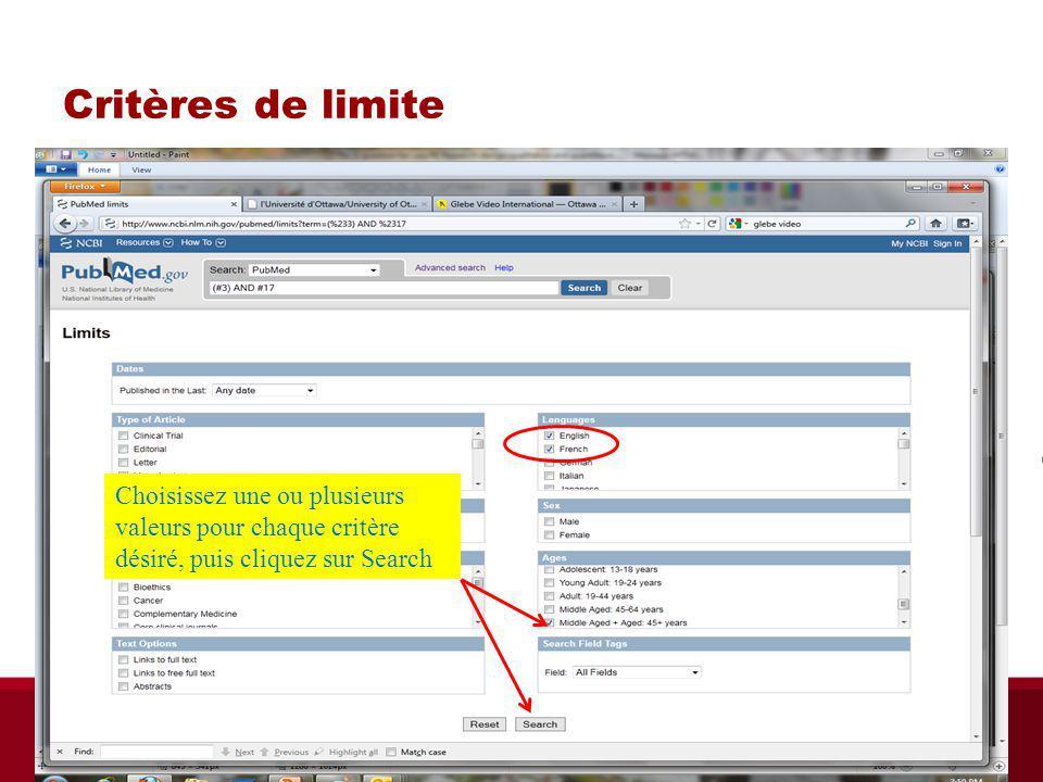 Critères de limite Choisissez une ou plusieurs valeurs pour chaque critère désiré, puis cliquez sur Search Biblio RGN Jan 2012