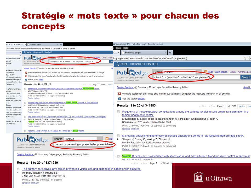Stratégie « mots texte » pour chacun des concepts Biblio RGN Jan 2012
