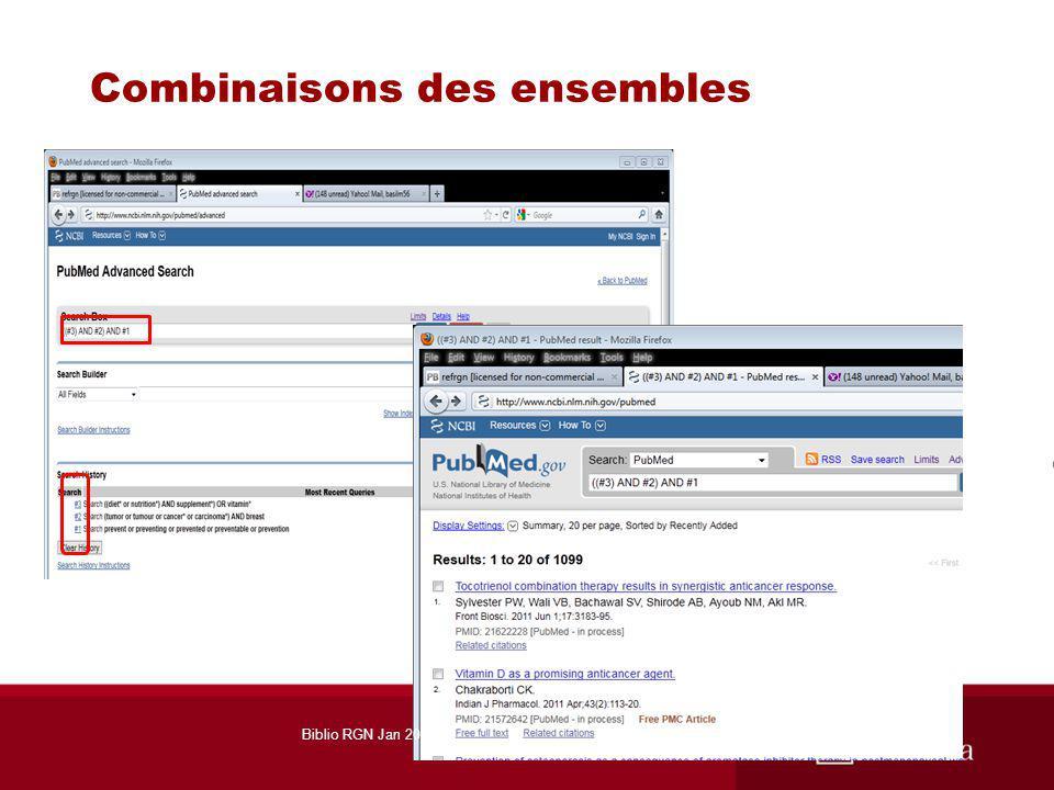 Combinaisons des ensembles Biblio RGN Jan 2012