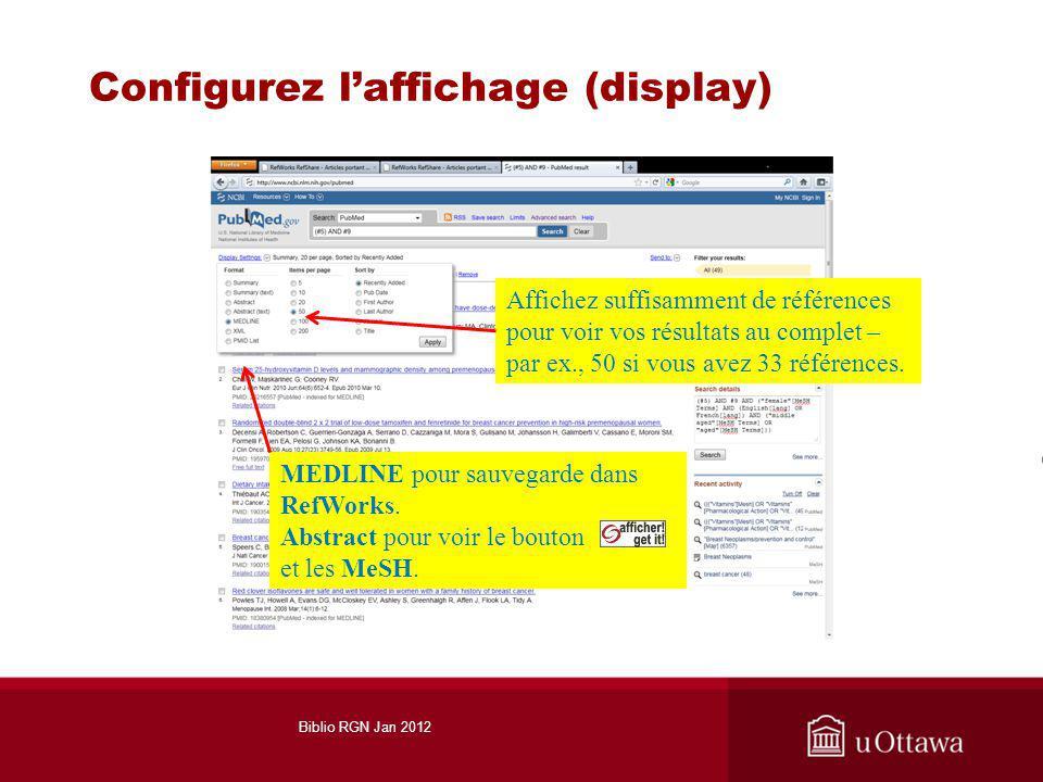 Configurez laffichage (display) MEDLINE pour sauvegarde dans RefWorks.
