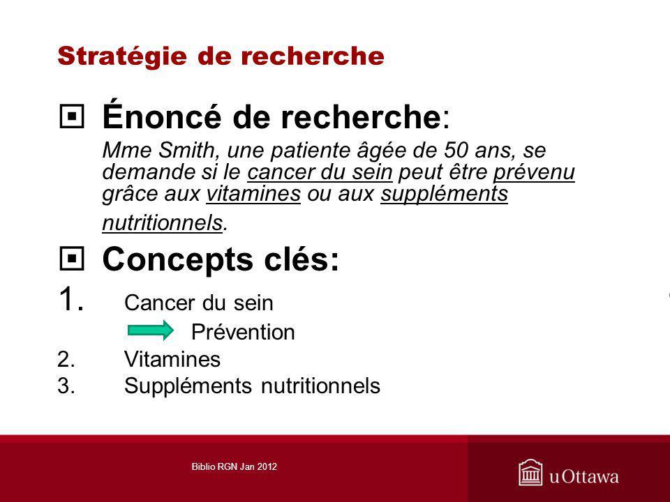 Stratégie de recherche Énoncé de recherche: Mme Smith, une patiente âgée de 50 ans, se demande si le cancer du sein peut être prévenu grâce aux vitamines ou aux suppléments nutritionnels.