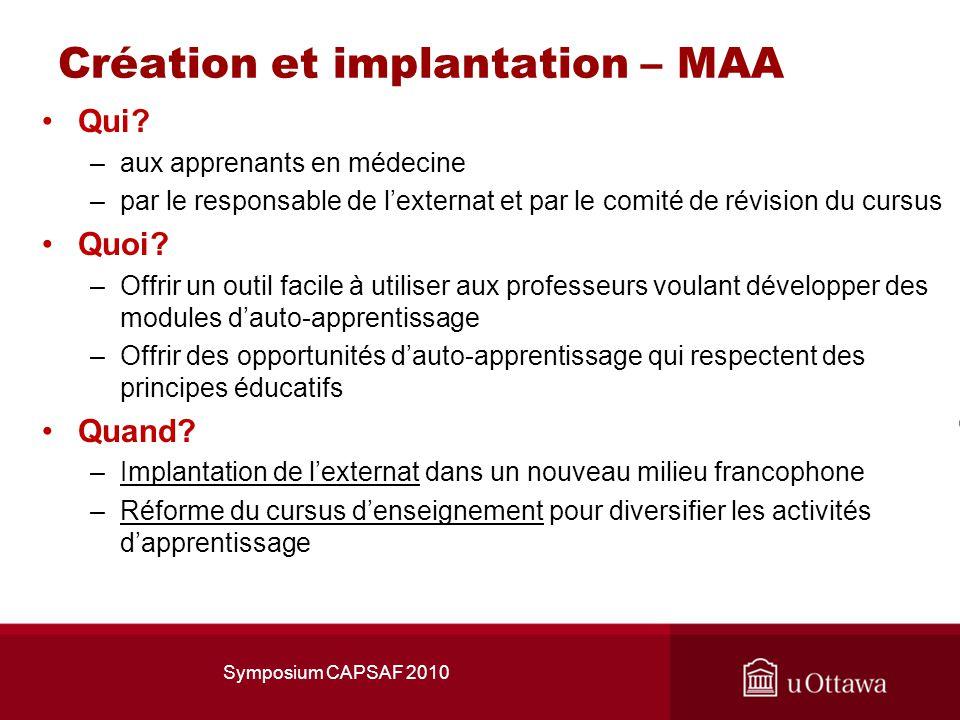 Création et implantation – MAA Qui.