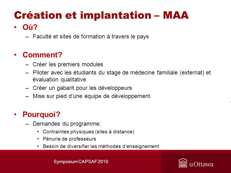 Création et implantation – MAA Où.–Faculté et sites de formation à travers le pays Comment.
