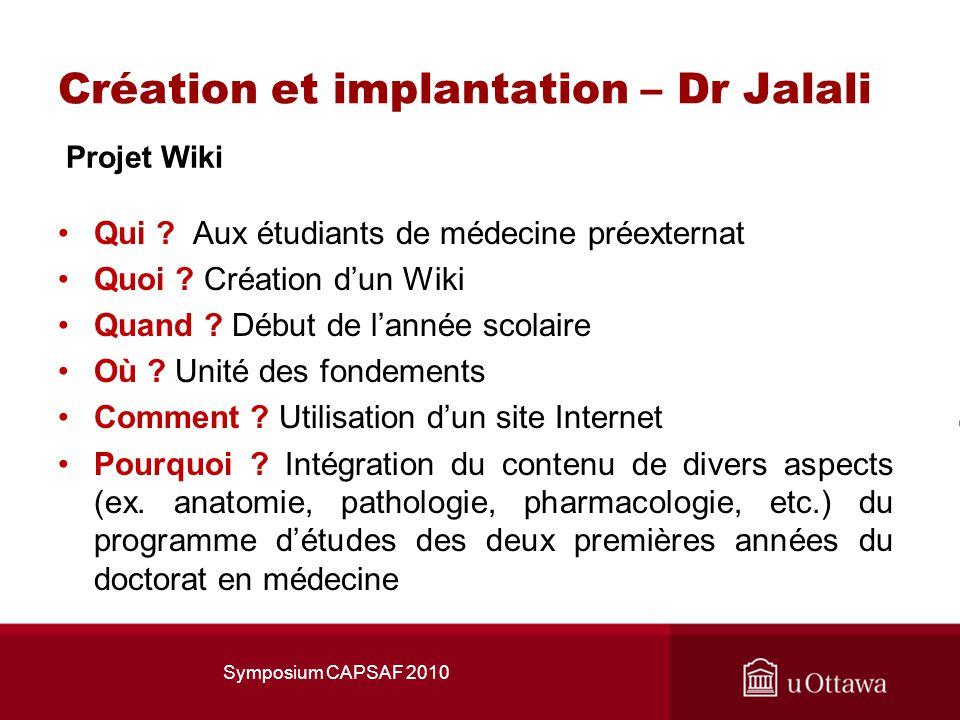 Création et implantation – Dr Jalali Projet Wiki Qui .
