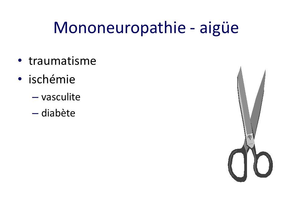 Mononeuropathie - aigüe traumatisme ischémie – vasculite – diabète