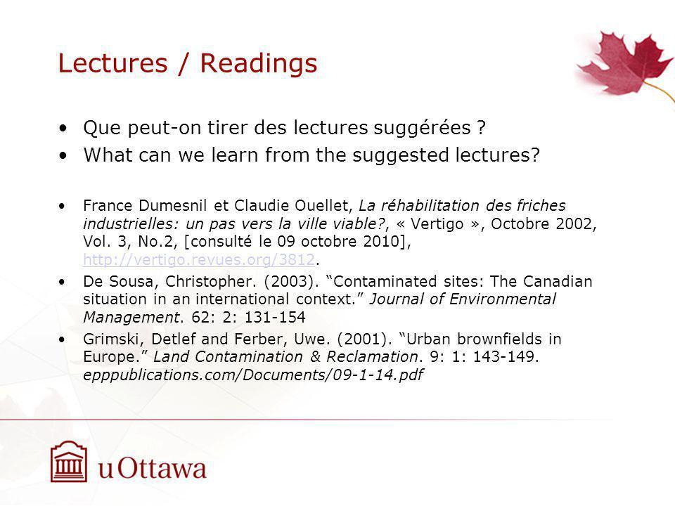 Lectures / Readings Que peut-on tirer des lectures suggérées .