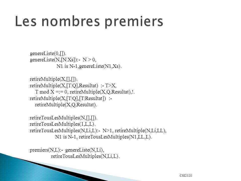 genereListe(0,[]). genereListe(N,[N|Xs]):- N > 0, N1 is N-1,genereListe(N1,Xs). retireMultiple(X,[],[]). retireMultiple(X,[T|Q],Resultat) :- T>X, T mo