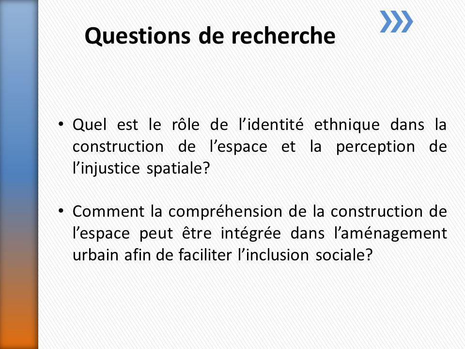 Questions de recherche Quel est le rôle de lidentité ethnique dans la construction de lespace et la perception de linjustice spatiale.