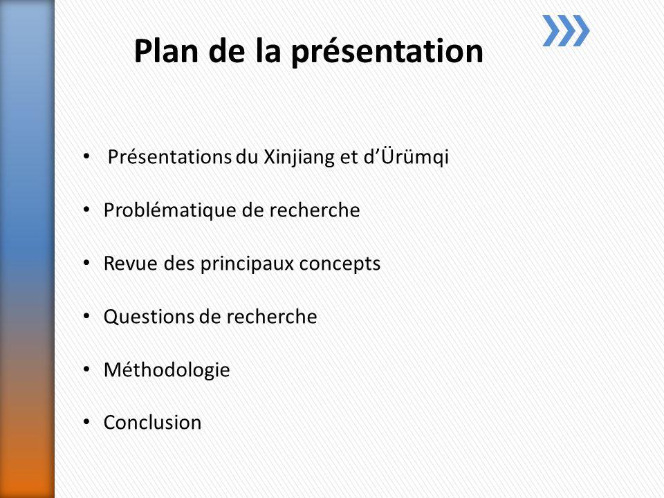 Plan de la présentation Présentations du Xinjiang et dÜrümqi Problématique de recherche Revue des principaux concepts Questions de recherche Méthodologie Conclusion