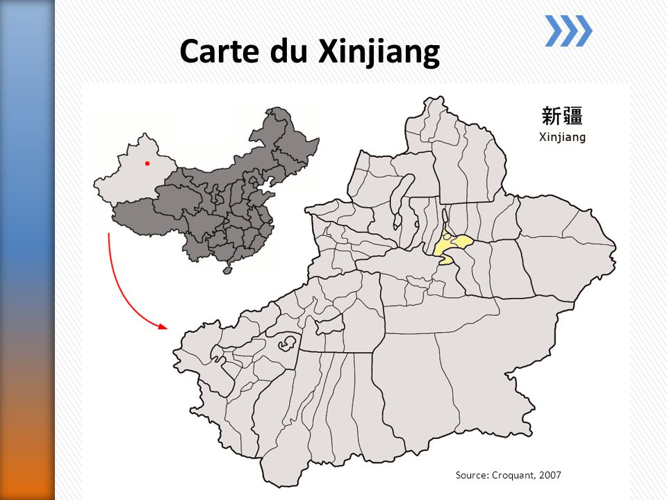 Carte du Xinjiang Source: Croquant, 2007