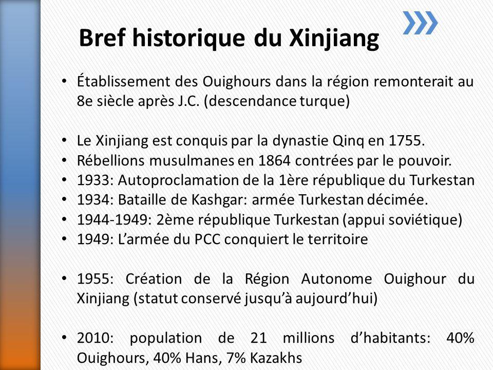 Bref historique du Xinjiang Établissement des Ouighours dans la région remonterait au 8e siècle après J.C.