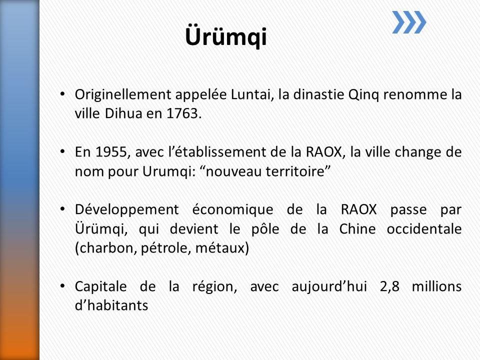 Ürümqi Originellement appelée Luntai, la dinastie Qinq renomme la ville Dihua en 1763.