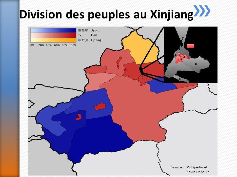 Division des peuples au Xinjiang Source : Wikipédia et Kévin Dépault