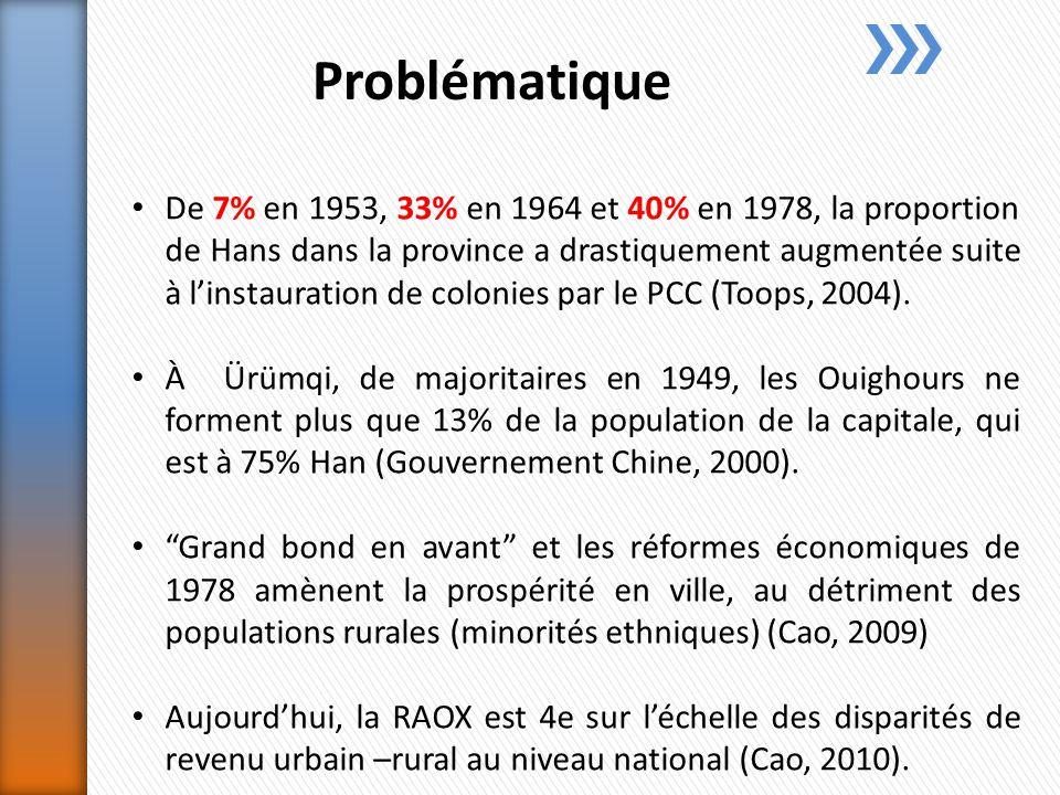 Problématique De 7% en 1953, 33% en 1964 et 40% en 1978, la proportion de Hans dans la province a drastiquement augmentée suite à linstauration de colonies par le PCC (Toops, 2004).