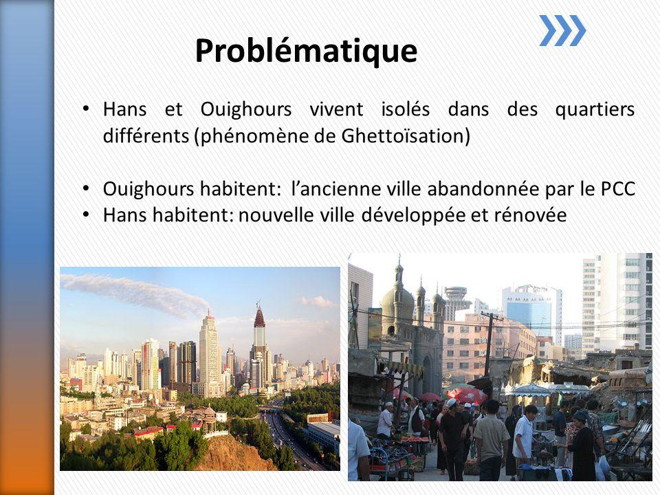 Problématique Hans et Ouighours vivent isolés dans des quartiers différents (phénomène de Ghettoïsation) Ouighours habitent: lancienne ville abandonnée par le PCC Hans habitent: nouvelle ville développée et rénovée