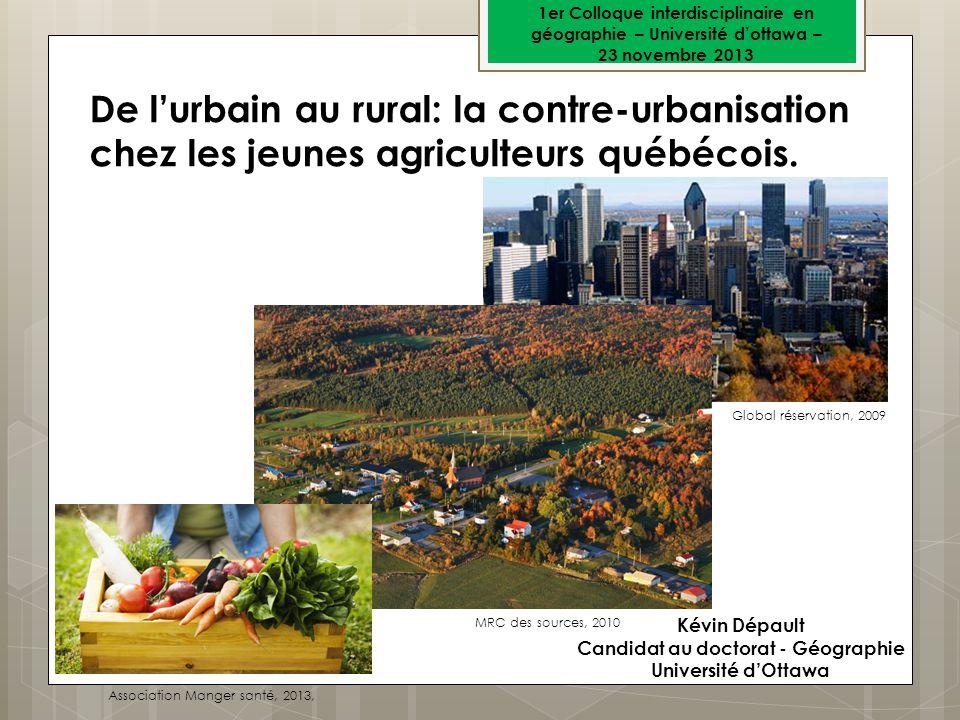 Kévin Dépault Candidat au doctorat - Géographie Université dOttawa De lurbain au rural: la contre-urbanisation chez les jeunes agriculteurs québécois.