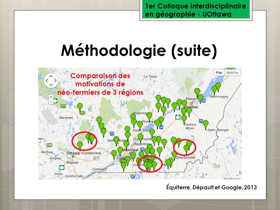 1er Colloque interdisciplinaire en géographie - UOttawa Méthodologie (suite) Équiterre, Dépault et Google, 2013 Comparaison des motivations de néo-fer