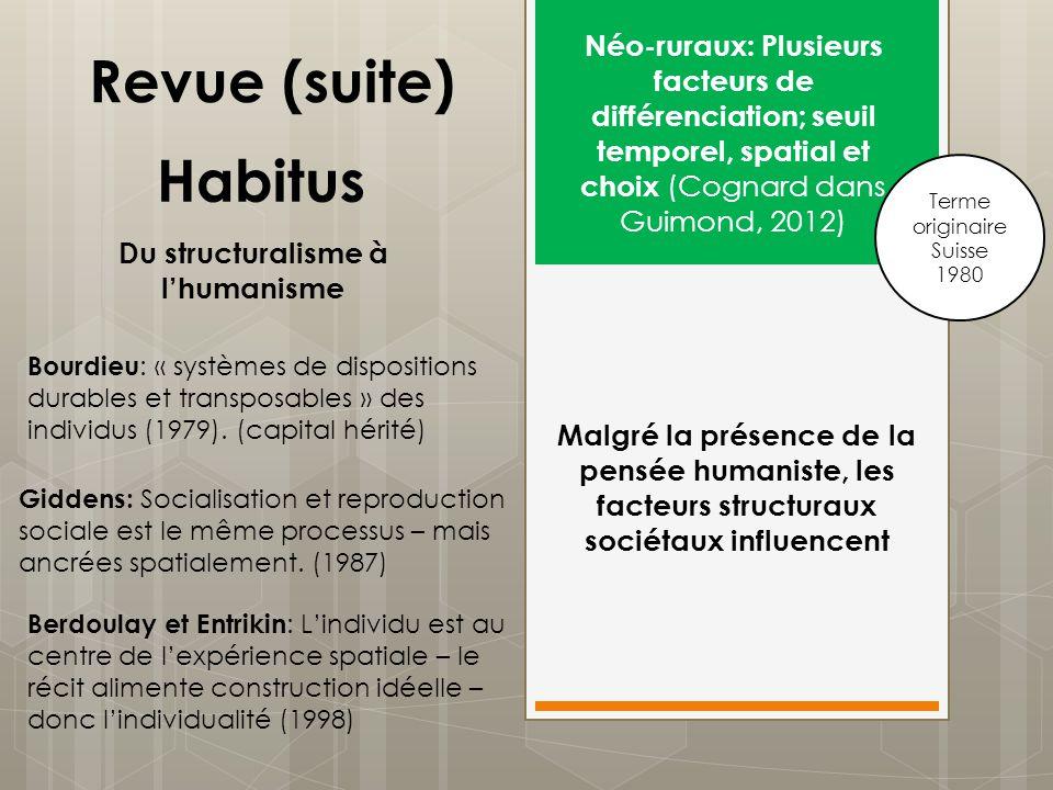 Habitus Néo-ruraux: Plusieurs facteurs de différenciation; seuil temporel, spatial et choix (Cognard dans Guimond, 2012) Terme originaire Suisse 1980