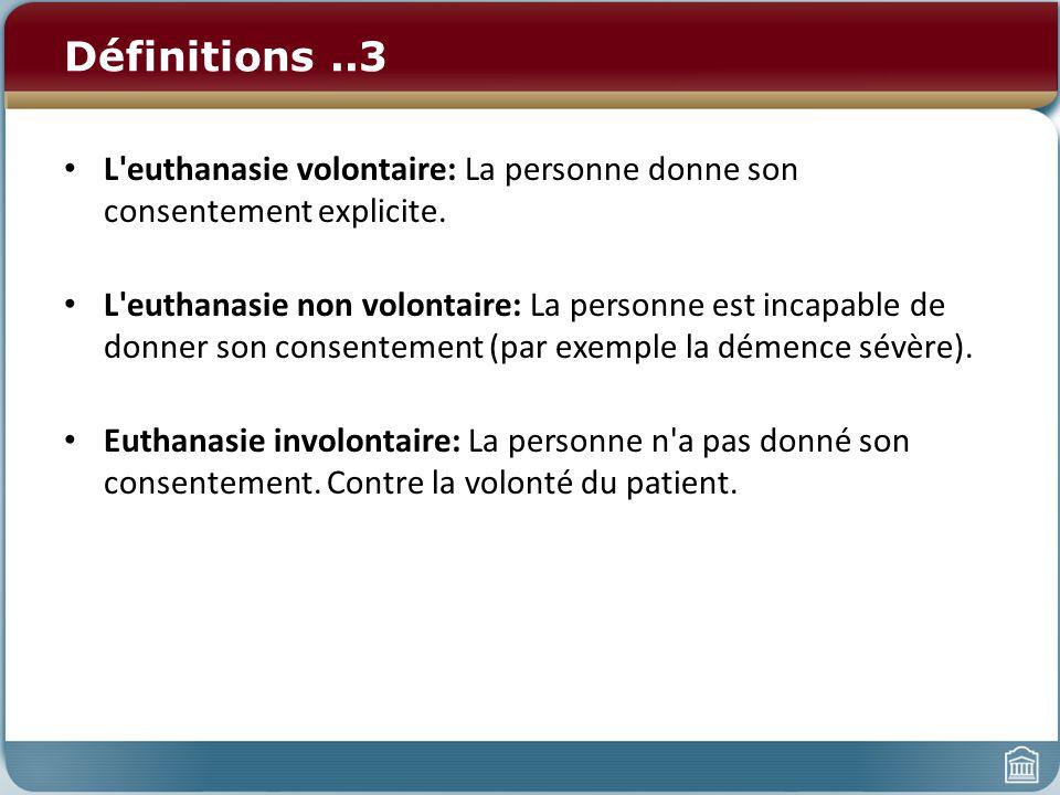 Définitions..3 L'euthanasie volontaire: La personne donne son consentement explicite. L'euthanasie non volontaire: La personne est incapable de donner