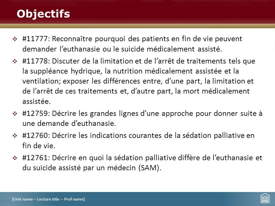 #11777: Reconnaître pourquoi des patients en fin de vie peuvent demander leuthanasie ou le suicide médicalement assisté. #11778: Discuter de la limita