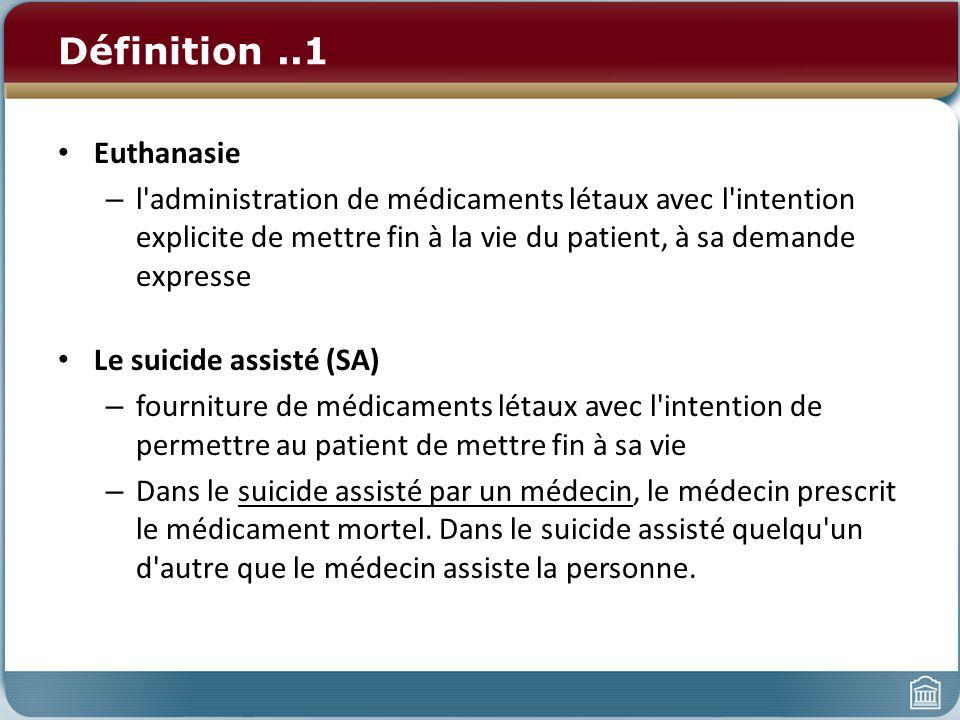 Définitions..2: celles-ci provoquent la confusion Euthanasie «active»: La personne effectue activement l acte qui raccourcit la vie de la personne (injecte la drogue mortelle).