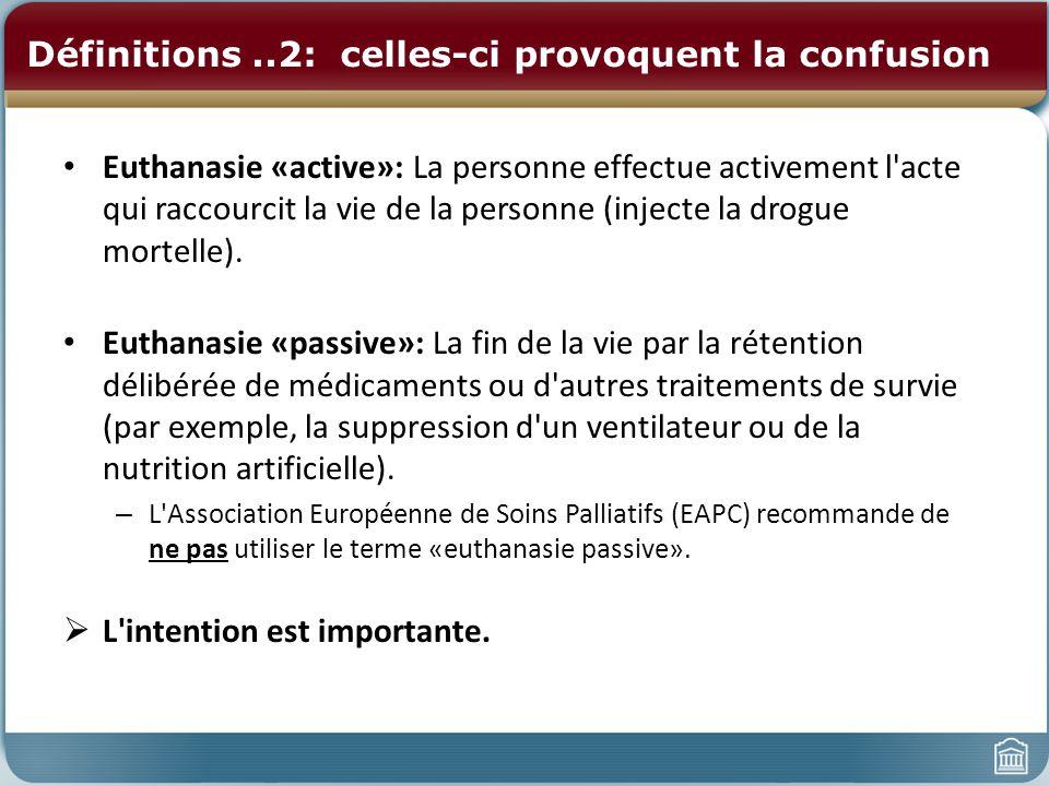 Définitions..2: celles-ci provoquent la confusion Euthanasie «active»: La personne effectue activement l'acte qui raccourcit la vie de la personne (in
