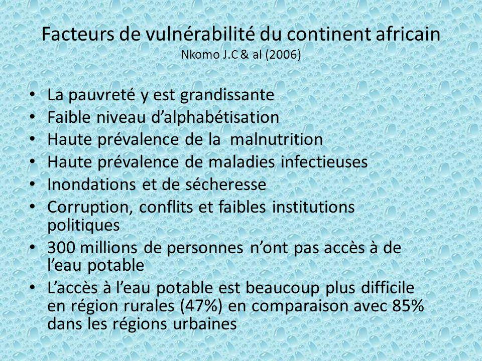 Facteurs de vulnérabilité du continent africain Nkomo J.C & al (2006) La pauvreté y est grandissante Faible niveau dalphabétisation Haute prévalence d