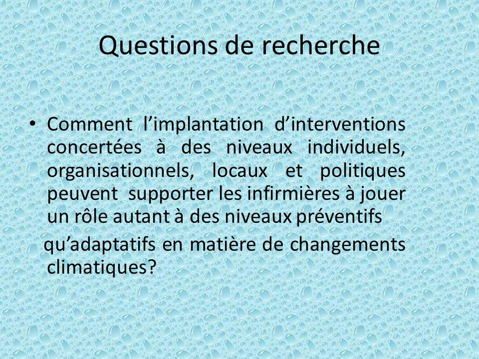 Questions de recherche Comment limplantation dinterventions concertées à des niveaux individuels, organisationnels, locaux et politiques peuvent suppo