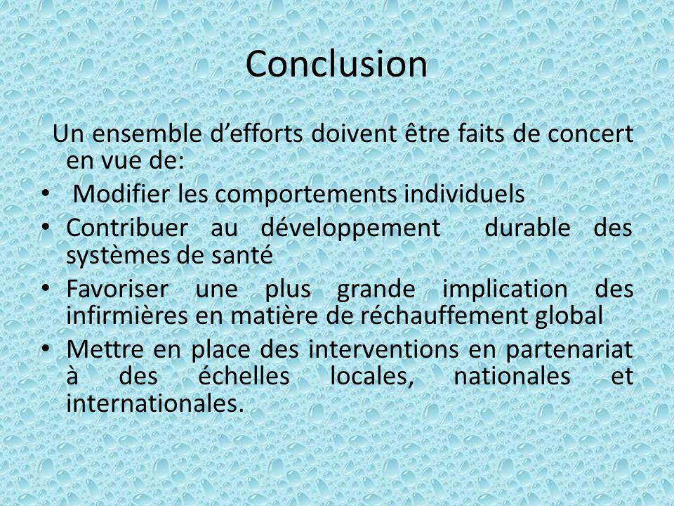 Conclusion Un ensemble defforts doivent être faits de concert en vue de: Modifier les comportements individuels Contribuer au développement durable de