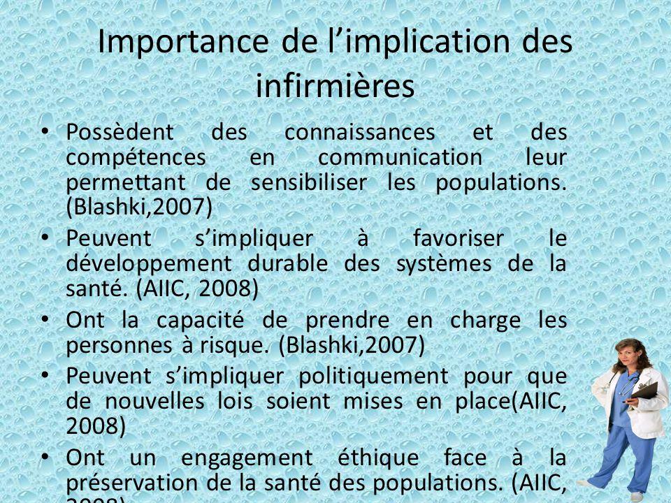 Importance de limplication des infirmières Possèdent des connaissances et des compétences en communication leur permettant de sensibiliser les populat