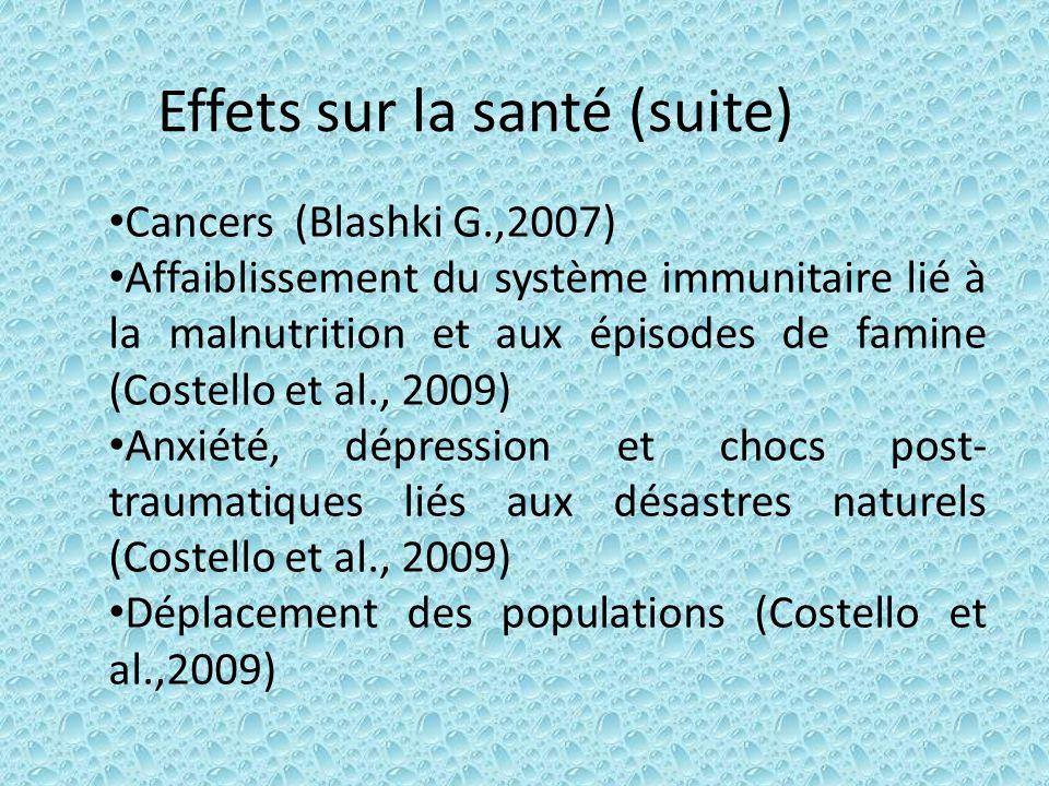 Effets sur la santé (suite) Cancers (Blashki G.,2007) Affaiblissement du système immunitaire lié à la malnutrition et aux épisodes de famine (Costello