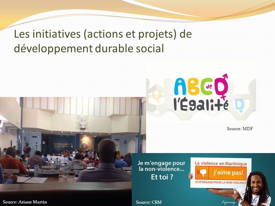 Les initiatives (actions et projets) de développement durable social Source: MDF Source: CRM Source: Ariane Martin
