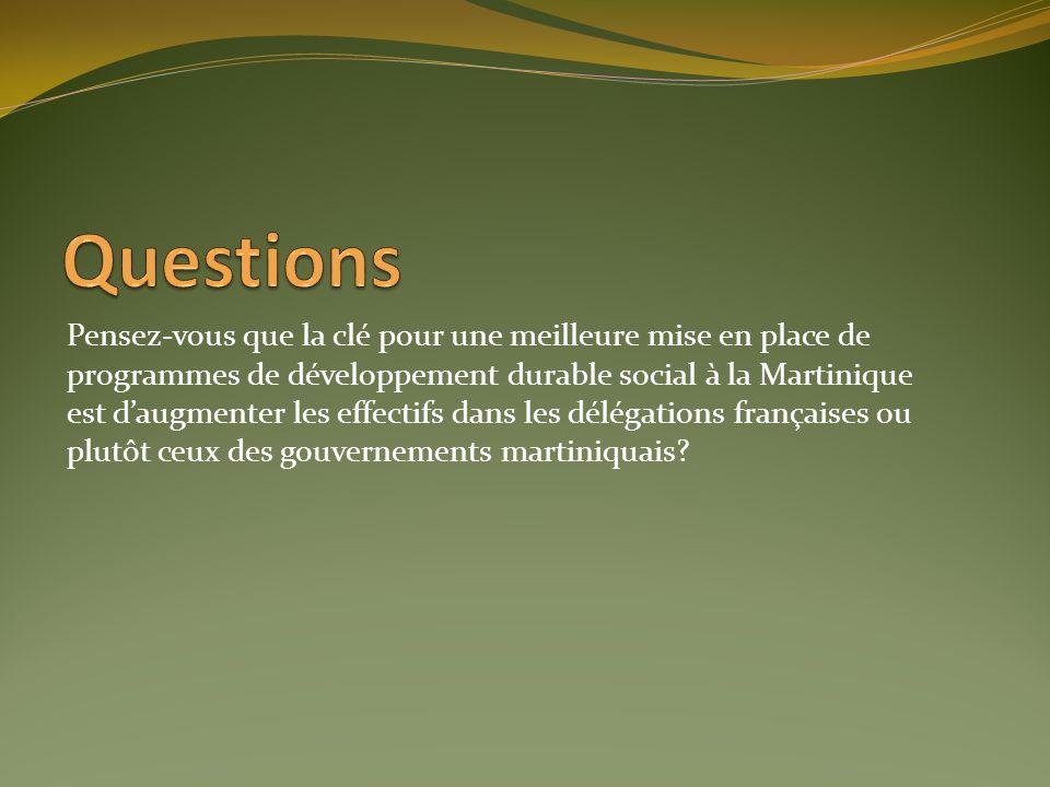 Pensez-vous que la clé pour une meilleure mise en place de programmes de développement durable social à la Martinique est daugmenter les effectifs dan