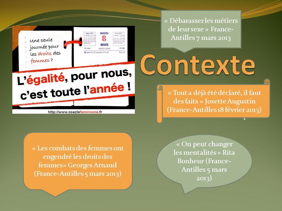 Localisation Revue de la littérature Problématique « On peut changer les mentalités » Rita Bonheur (France- Antilles 5 mars 2013) « Les combats des fe