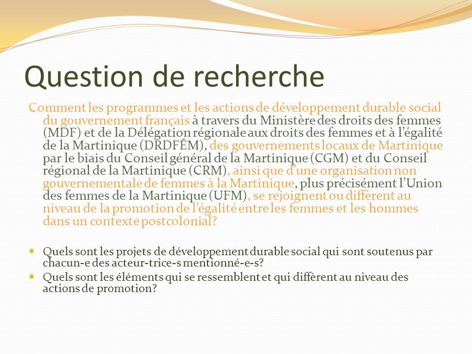 Question de recherche Comment les programmes et les actions de développement durable social du gouvernement français à travers du Ministère des droits