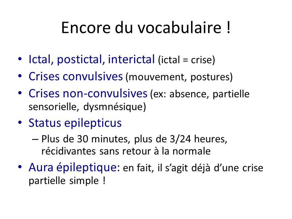 Encore du vocabulaire ! Ictal, postictal, interictal (ictal = crise) Crises convulsives (mouvement, postures) Crises non-convulsives (ex: absence, par