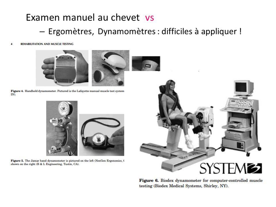 Examen manuel au chevet vs – Ergomètres, Dynamomètres : difficiles à appliquer !
