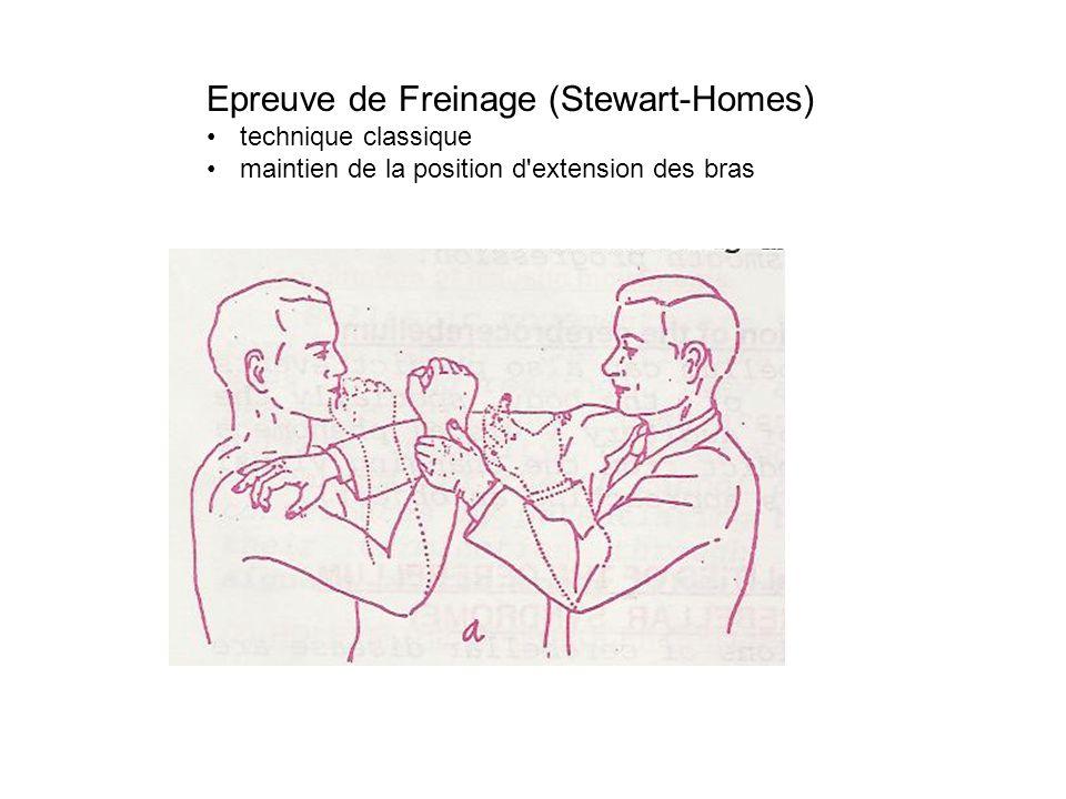 Epreuve de Freinage (Stewart-Homes) technique classique maintien de la position d'extension des bras