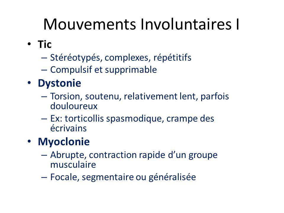 Mouvements Involuntaires I Tic – Stéréotypés, complexes, répétitifs – Compulsif et supprimable Dystonie – Torsion, soutenu, relativement lent, parfois